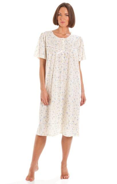 Lady Olga Donna Cotone Spazzolato Camicia da Notte Pigiami