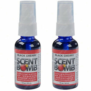 2 x Scent Bomb Air Freshener Concentrated Spray Car Fragrance Black Cherry 30ml