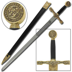 Medieval King Arthur Excalibur Replica Longsword - Gold | eBay