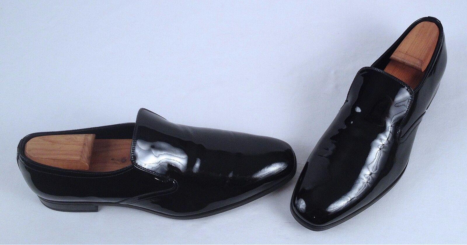 Prada Venetian Mocasín-Negro Patente EE. UU. 8.5 Reino Unido  (MX1)