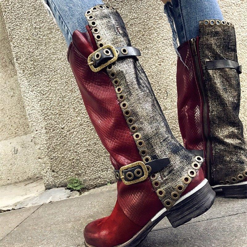 Hebilla de Cuero Cuero Cuero Genuino Retro para Mujer Casual de empalme nuevos Zapatos botas Biker Mitad de Pantorrilla  auténtico