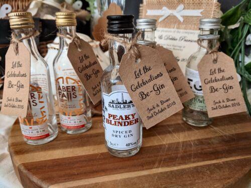 x21 Vintage Mariage Faveur Gin Balises pour Miniature Bouteilles-Personnalisé