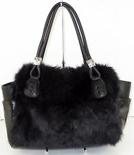New Kathy Van Zeeland Large Black Faux Fur Handbag Silver Hardware