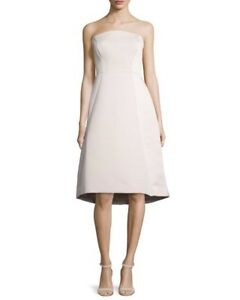 f76a19a7c52 Image is loading Halston-Heritage-Structured-Strapless-Satin-Cocktail-Dress -Size-