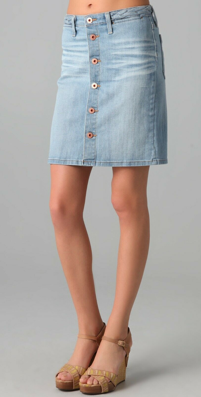 New with Tags  AG Women's Lula Braided A-Line Denim Skirt Size 25 Original
