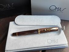 OMAS PARAGON ARCO BROWN CELLULOID GOLD TRIM ROLLERBALL