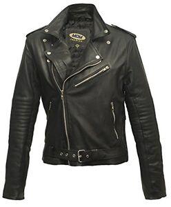 Damen Rocker Jacke Lederjacke Motorrad Chopperjacke rw4Br