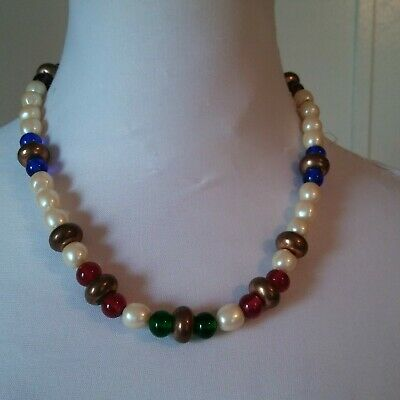 also use as wrap bracelet B-27 mixed colors 1 or 2 strands 40 pearl necklace /& 1 earrings Multicolored glass pearl jewelry set