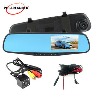 Voiture-Auto-DVR-retroviseur-double-lentille-4-3-034-1080P-Dash-Cam-arriere-camera