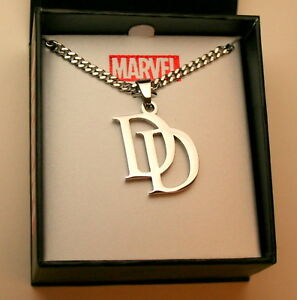 Marvel-Comics-DareDevil-DD-Stainless-Steel-Necklace-Pendant-New-NOS-Box