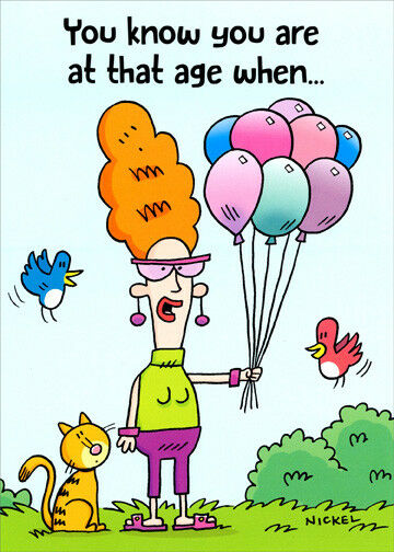 Woman Holding Helium Balloons Funny Birthday Card For Her Women For Sale Online