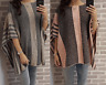 Ladies Womens Knitted Stone & Grey Poncho Winter Wrap Shawl Jumper Onesize