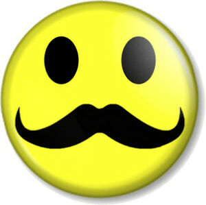 Moustache-Smiley-25mm-1-034-Pin-Button-Badge-Novelty-Movember-Mustache-Tash-Hipster