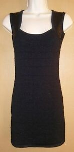 Womens-Jrs-FOREVER-21-Black-Bodycon-Dress-Small-sequins-sparkly-Sleeveless-A-2