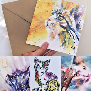 BEAUTIFUL-WATER-COLOUR-GREETING-ANNIVERSARY-BIRTHDAY-OCCASION-CAT-CARDS
