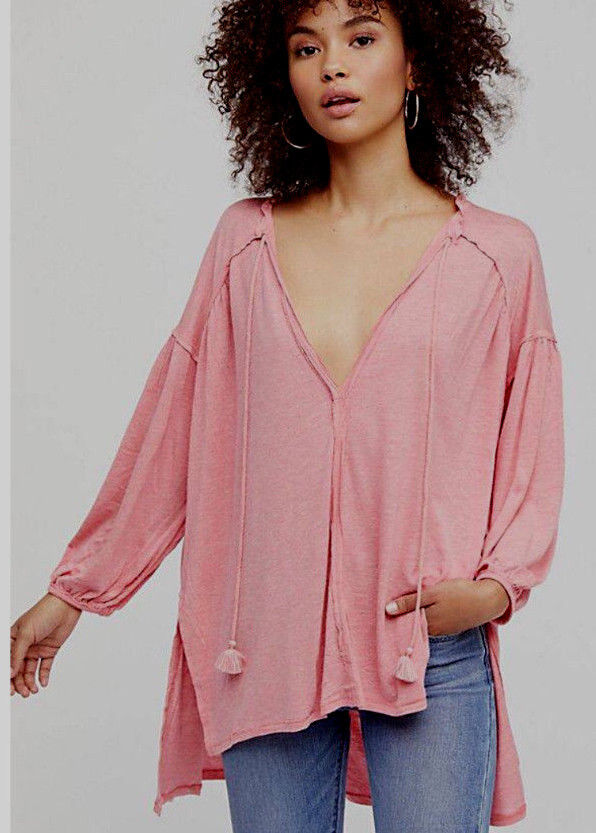 Free People OB758410 Just A Henley Top 3 4 Length Sleeves Rosa Rosa Heather XS