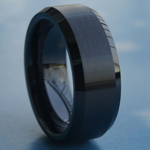 Details about  /8mm 2tone shiny /& brush small bevel hi tech scratch proof black ceramic ring