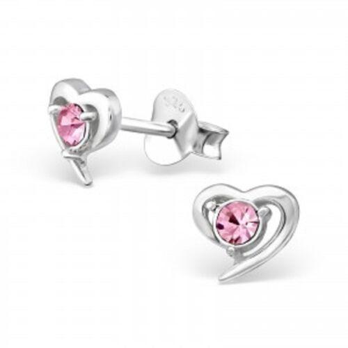 Pink crystal heart earrings 925 sterling silver ear studs ladies girls gift