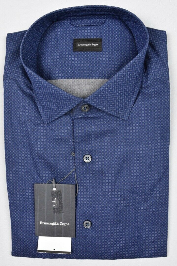 Ermenegildo Zegna Mens 2018 Cotton Navy Multi Shirt Size XL New