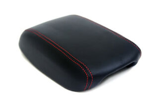 Fits 13-16 Dodge Dart Synthetic Leather Armrest Console Cover Black-Red stitch
