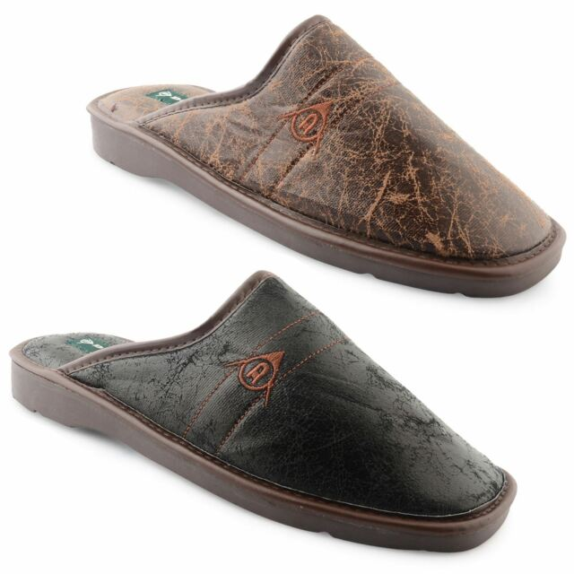 New Dunlop Mens Flat Winter Furry Lined Backless Slippers Mule UK Size 7-11
