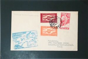 Portugal-1939-Lisbon-to-USA-First-Flight-Cover-Z3355