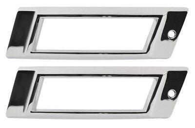 PAIR 1968 Pontiac Rear Side Marker Lens Lamp Light Chrome Bezel Trim Assembly
