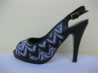 Jewels Womens Shoes $49 Black White Sling Heel Open Toe 9 W