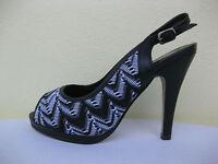 Jewels Womens Shoes $49 Black White Sling Heel Open Toe 9 W