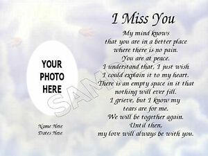 Image Is Loading I Miss You Photo Personalized Art Poem Memory