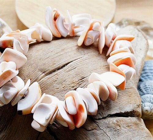Pulsera 16-22 cm concha astilla nattürlich blanco rosa salmón elástico cadena
