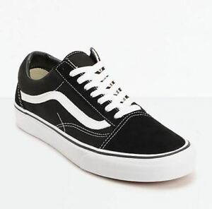 1c61e977a7 Vans OLD SKOOL Mens Womens Black White Canvas Lace Up Skateboard ...