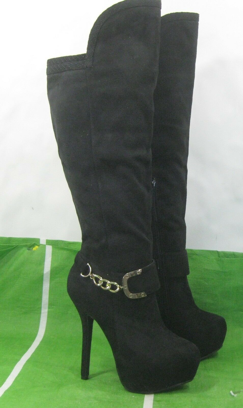 NEW Black 6 Stiletto High Heel gold Buckle Round Toe Sexy Knee Boot Size 8.5