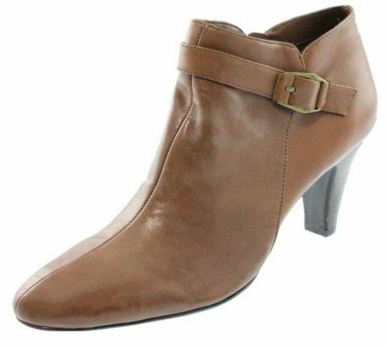 New Brn BANDOLINO Donna Brn New Leather Med Heel Side Zip Ankle Dress Boot Shoe Sz 11 M 5a961e