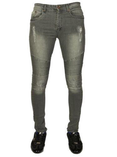 Mens Stone Edge Skinny Fit Super Stretch Biker Jeans Denim Blue Waist Size 28-38