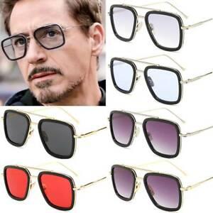 Gafas de Sol Retro Iron Man Tony Stark Gafas Cuadrado Marco de Metal para Hombres Mujeres