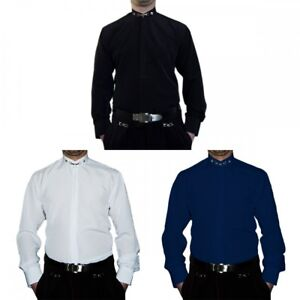 Camisa-De-Cuello-Alto-S6F-Blanco-Negro-Azul-Hombre-camiseta