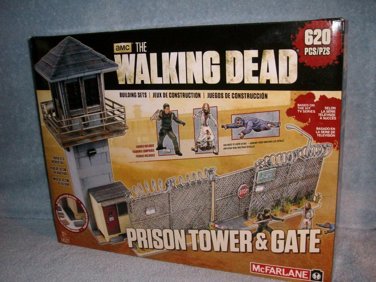The Walking Dead Prison Tower & Gate AMC Building Sets McFarlane Walkers Glenn