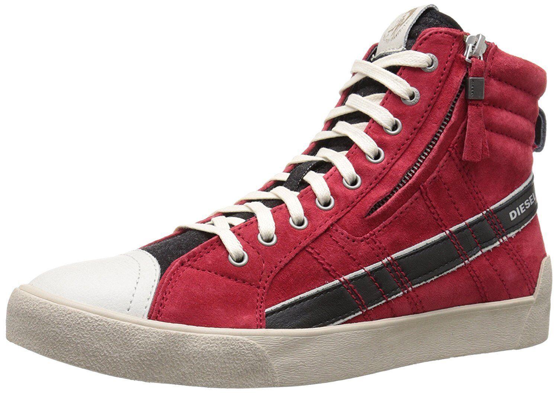 Diesel D String Plus Y01169 P0852 H5582 High Top Sneaker Red Men SZ 7 - 12