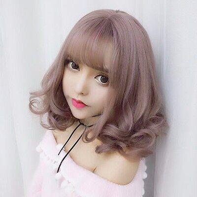 Harajuku Lolita Lady Fancy Wig Medium Long Curly Wavy Cosplay Costume Party Hair