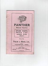 PANTHER MOTO RICAMBI Listino prezzi-Modello 90 / 100 1935/37 riproduzione