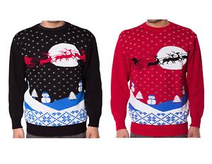 Unisex Ladies Mens Santa Reindeer Sleigh Christmas Knitted Jumper Sweater Top