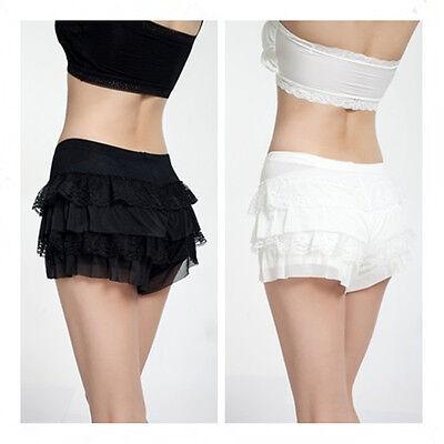 4 Layers Lace Frilly Ruffle Knicker Sexy Underwear Shorts Hot Pants Safety Skirt