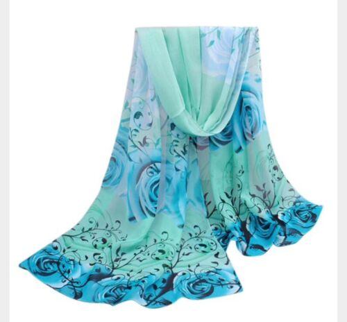 Blue /& Green Ladies Chiffon Fashion Scarf Beautiful Roses Birthday Wedding Gift