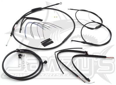 "Burly Brand Cable//Brake Line Kits Black for 16"" Ape Hangers 07-10 FLST//C//F//N"