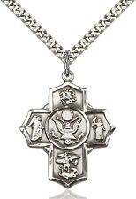 St. Saint Michael Sterling Silver Five Way Cross Medal Army