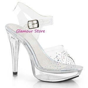SANDALI STRASS tacco 13 dal 35 al 44 TRASPARENTE plateau scarpe SEXY Glamour