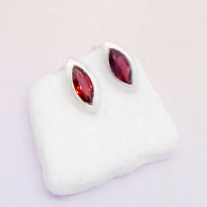 Granat-rot-red-Design-Ohrringe-Ohrstecker-Stecker-925-Sterling-Silber-neu