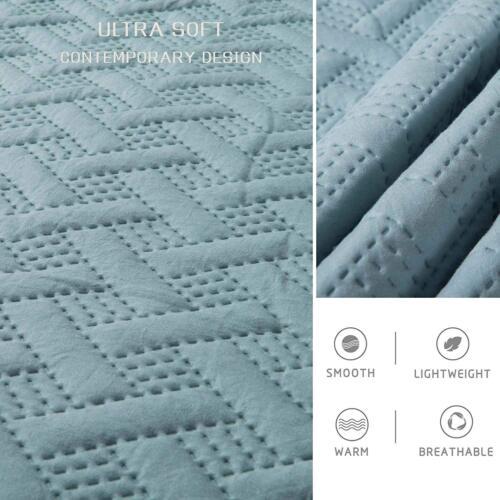 Drimbringer Microfiber Soft Quilt Coverlet set /&2 Shams Bedspread Bed Cover Set