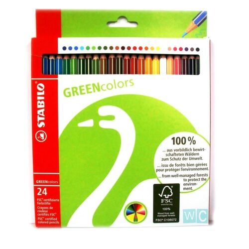 18 or 24 Stabilo Coloring Pencils 100/% FSC Wood GREENcolors 3 Pack sizes 12
